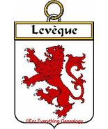 LEVEQUE French Coat of Arms Print LEVEQUE Famil... - $25.00
