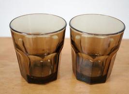 Pair 2 Libbey Crisa Gibraltar Boston Smokey Brown Amber Juice Tumbler Gl... - $24.99
