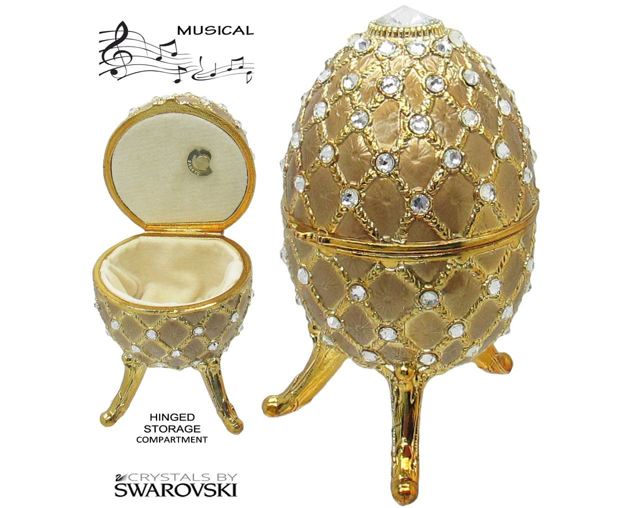 Primary image for Musical Jewelry and Trinket Box with Swarovski Crystals, Gold/Gold