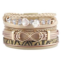 Jenia Infinity Leather Bracelet Endless Love Charm Wrap Bracelets (Beige) - $20.75