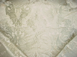 14Y SCHUMACHER SOFT MINT ON CHAMPAGNE FLORAL SILK DAMASK UPHOLSTERY FABRIC - $388.08