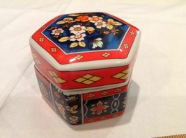 Jewelry Trinket Box Dish with Lid Japan Enesco, Japan Porcelain, Hexagon... - $9.34