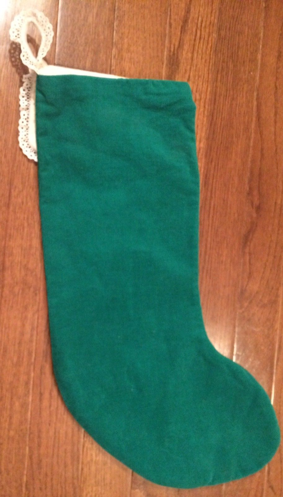 Vintage Christmas Stocking Crosstitch Green Personalized Kendall