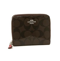 NWT COACH Small Zip Around Wallet Signature Shiny Enamel Brown Red Coin ... - $41.58