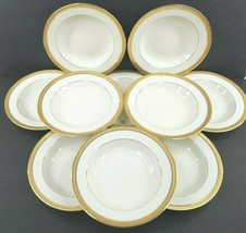 "10 Mikasa Palatial Gold Rim Soup Bowls Set 8 1/2"" Elegant Fine China Bow... - $98.97"