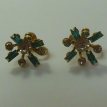 Vintage Signed B N Blue Baguette and Clear Rhinestone Screw-Back Earrings  - $15.83