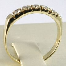 18K YELLOW GOLD BAND RING WITH 5 DIAMONDS, 0.25 CT ENGAGEMENT, MADE IN ITALY image 3