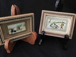 Persian Ottoman Miniature Paintings Inlaid Wood Frame : Hunting Fishing ... - $222.75