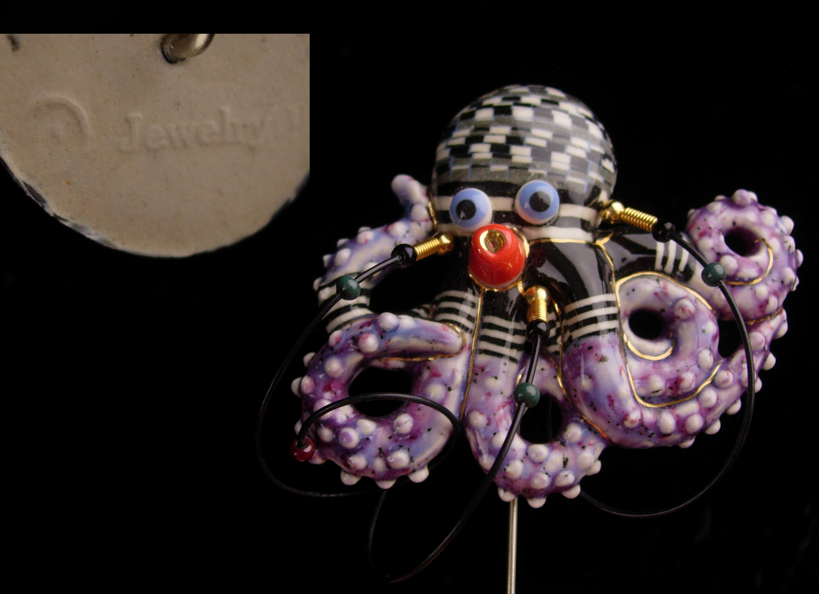 Rare Couture Octopus stickpin - CYNTHIA CHUANG - porcelain handcrafted lapel pin