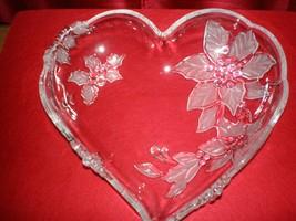 "Mikasa Holiday Bloom Heart Shaped Crystal Dish Poinsettias 10 1/2"" x 10"" x 2 1/2 - $25.99"