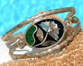 Vintage Mexico Inlay Cuff Bracelet Abalone Flower Inlaid Child - $17.95