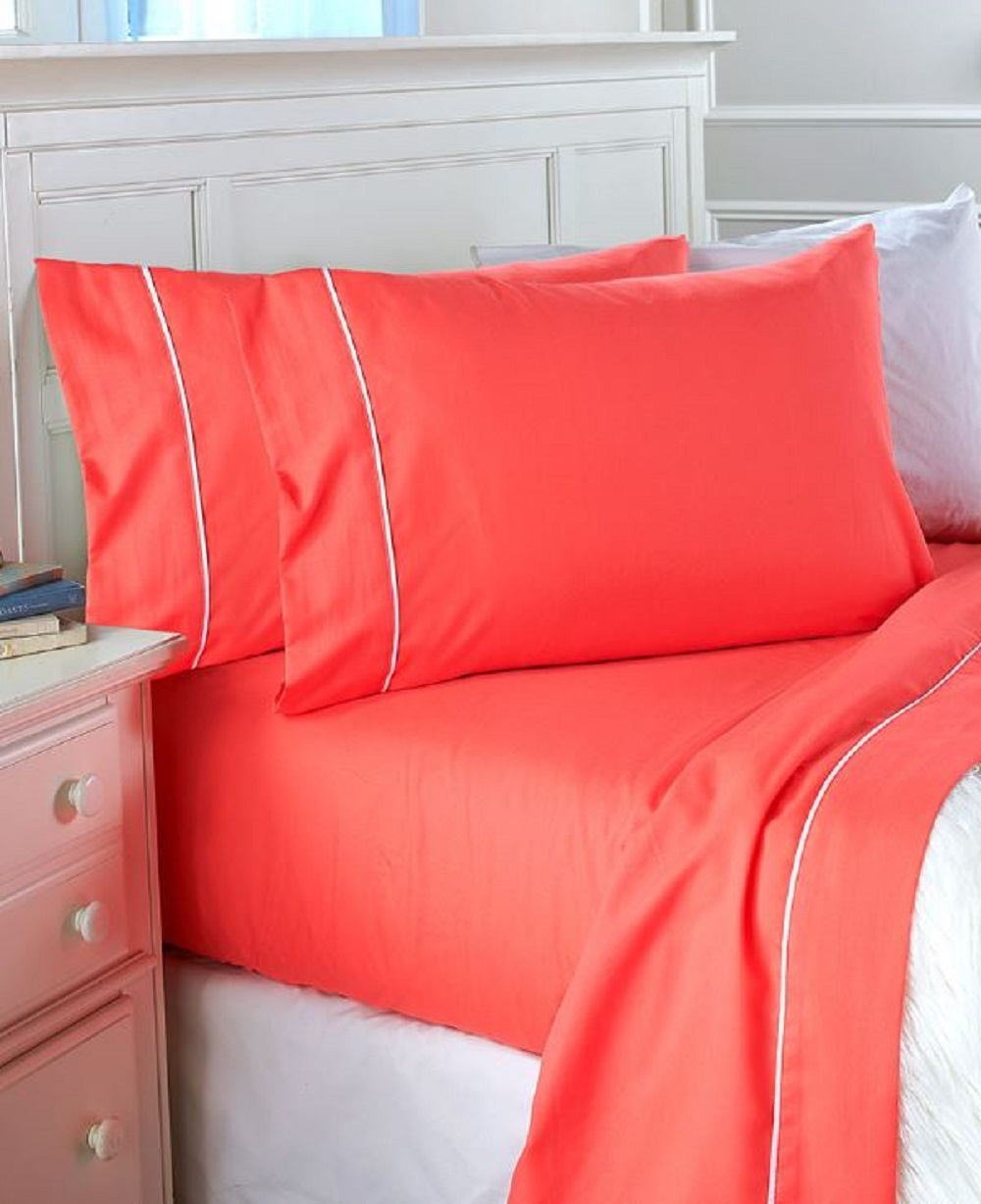 Coral Sheet Set 3 Pc Watermelon Easy Care Bed Sheets Bedroom Bedding Home Deco