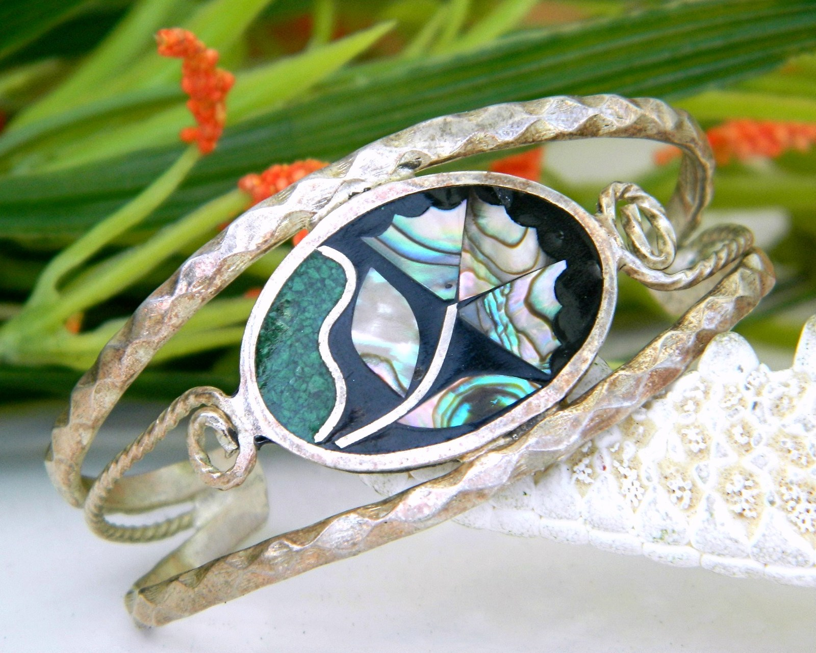 Vintage Mexico Inlay Cuff Bracelet Abalone Flower Inlaid Child
