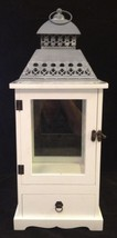 "22"" White Wood Lantern with Tiered Metal Roof  & Wood Drawer -"