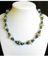 "15 1/2"" genuine agate, pearl, and artglass bead necklace - $90.00"