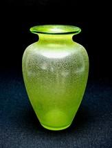 Vintage Lime Green Textured Urn Baluster Form Flower Modernist Art Glass... - $100.00