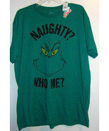 How the Grinch Stole Christmas Adult T Shirt Naughty Who Me? Dr Suess Me... - $11.99