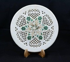 """10"""" Marble Dining Table Plate Grill Malachite Inlaid Kitchen Table Decor H5411B - $162.13"""