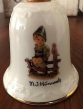 """Vintage M.J. Hummel """"Wayside Harmony"""" Porcelain Bell w/Wooden Handle - $9.80"""