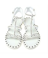 $840 Burberry White Studded Leather Hansel T-Strap Flat Sandals Slingbac... - $259.00