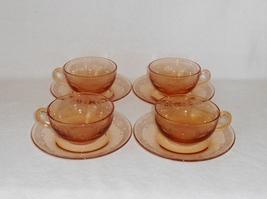 Fostoria Vesper Pattern Etched Dark Amber Topaz Glass Cups and Saucers (4)  - $30.00