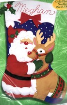 "Bucilla Jumbo 28"" Santa and Rudolph Christmas Eve Deer Felt Stocking Kit 84254 - $124.95"