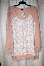 New Torrid Womens Plus Size 5X 5 Light Pink Sweater Shirt Top White Lace Overlay - $30.95