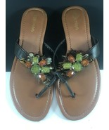 MAUI ISLAND Women's Sandals Feathers Stones Brown Size 10 N - $23.77