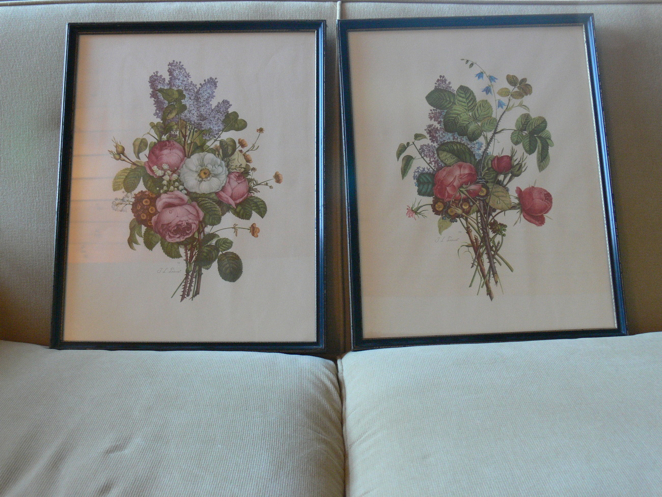 Two Framed T. L. Prevost Floral Prints