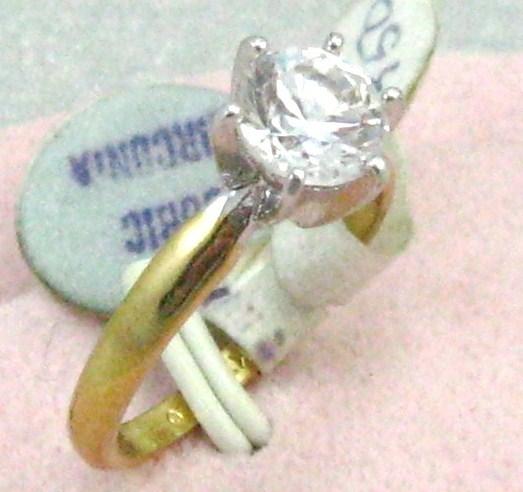 18KT silver GOLD F. 7mm C. Z. engage/ wedding Ring sz 7