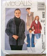 2365 Women's Jacket & Vest Size XS-Med 4-14 McCalls Pattern NEW - $5.99