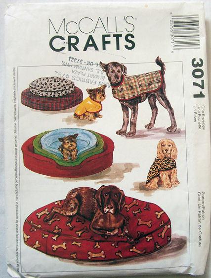 3071 Pet Beds & Coats 3 Sizes! McCalls Pattern NEW