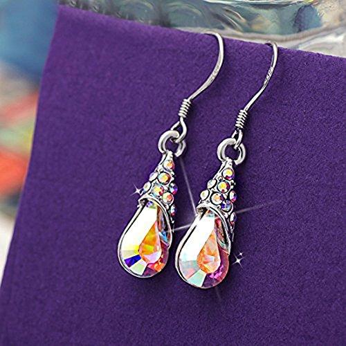 Neoglory Aurora Borealis Crystal Jewelry Set Teardrop Necklace Earrings Embellis