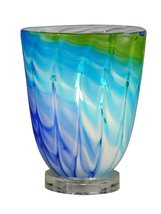 "8.25"" Summerland Sapphire Blue and Green Swirl Hand Crafted Glass Accent... - $108.89"