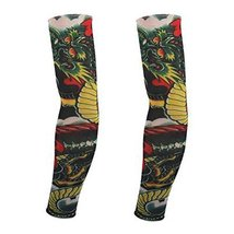 PANDA SUPERSTORE 1-Pair Dragon Tattoo Sun Sleeves Body Art Arm Stockings for Out