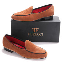 Handmade FERUCCI Plain Brown Men Velvet Slippers loafers davucci - $129.99