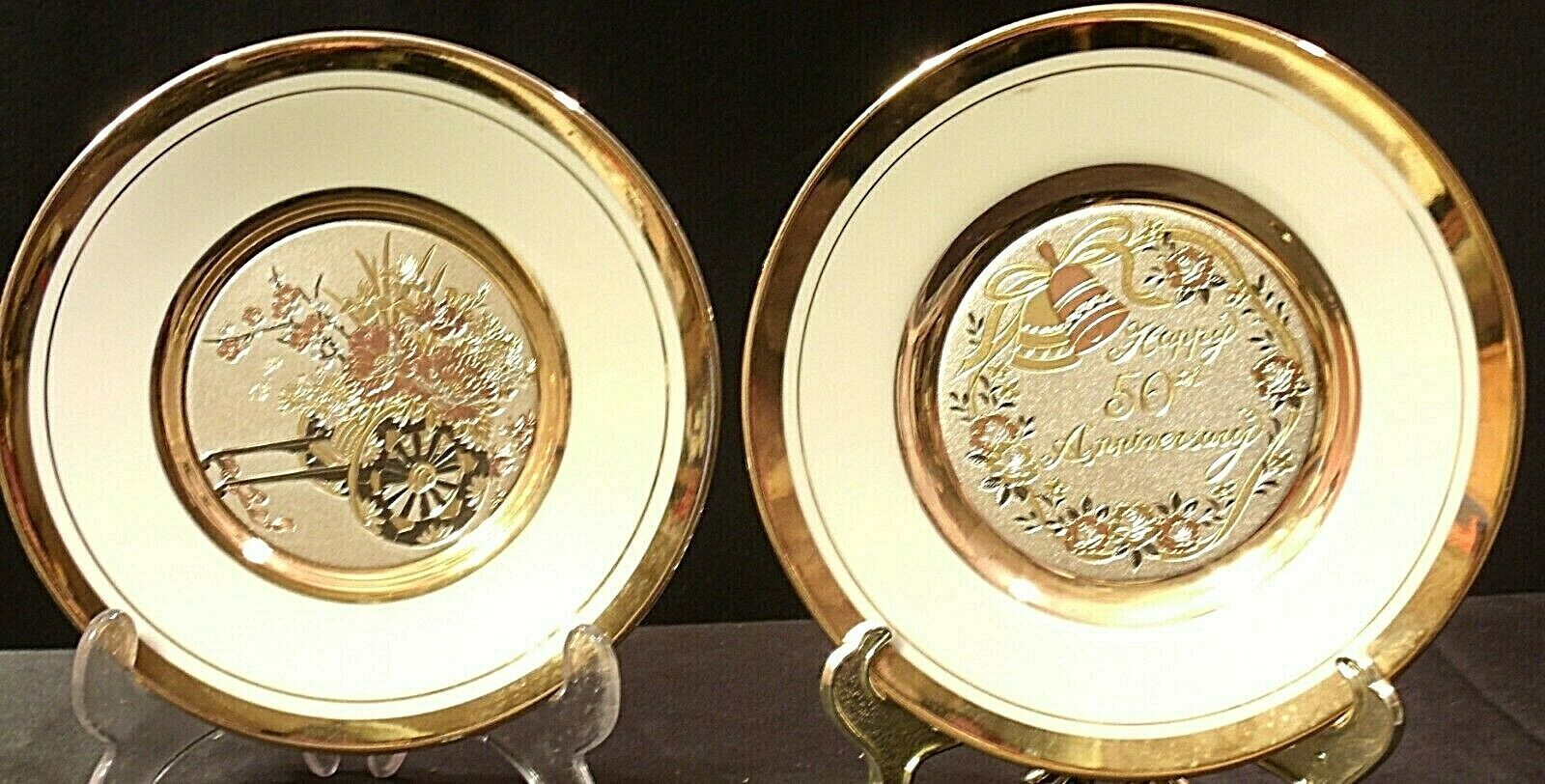 Golden 25th Anniversary Plate (Pair) AA20-2083 Vintage