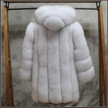 Long Full Pelt Hooded Snow White Fox Faux Fur with Long Sleeves Luxury Fur Coat image 3