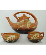 Roseville Tangerine Brown Freesia Tea Set With Lidded Teapot Sugar & Cre... - $495.00