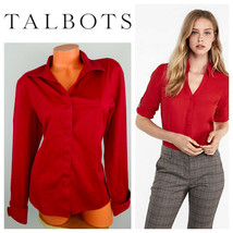 Talbots Button Down Shirt Top Oxford 16 XL 1X Long Slv. Red Wrinkle Resi... - $28.50
