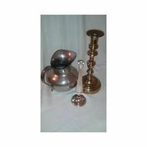Vintage Lot of 1 Brass Candlestick, 1 BM Designs Pewter Jug, 1 Chrome Bu... - $20.94