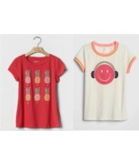 Gap Kids Girl Tee Shirt 6 7 Red Tropical Smiley Graphic Short Sleeve Cre... - $14.99