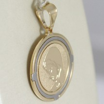 Oval Medal Pendant Gold Yellow White 750 18k Virgin Mary and Jesus, Madonna image 2