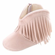 Baby Girls Size 3 or 5 beige fringe boots Infant Anti-slip Bottoms A275 - £6.74 GBP