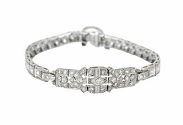 1920s Antique Art Deco Platinum 2.39ctw Diamond 12mm Wide Link Bracelet - $3,499.99