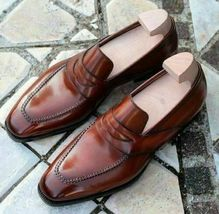 Handmade Men's Brown Leather Slip Ons Loafer Shoes image 1