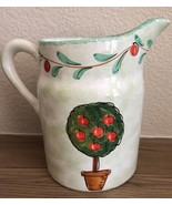 Handmade in ITALY for STARBUCKS green apple tree water pitcher with handle - $27.71