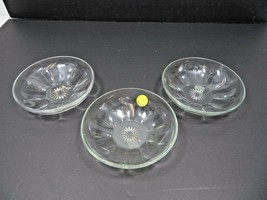 Vintage Mid Century set of 3 glass cup tray bowl Heisey floral décor - $20.00