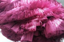 Burgundy Ballerina Tulle Skirt A-Line Layered Puffy Ballet Tulle Tutu Skirt image 9