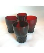 Vintage 1950's Set of 4 Anchor Hocking Ruby Red Juice Glasses Windsor Pa... - $23.38